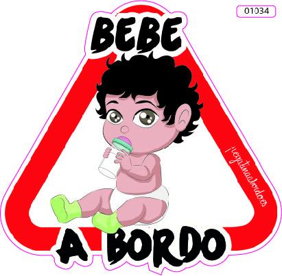 01034-BEBE A BORDO - Bebe Niño Moreno con Biberon